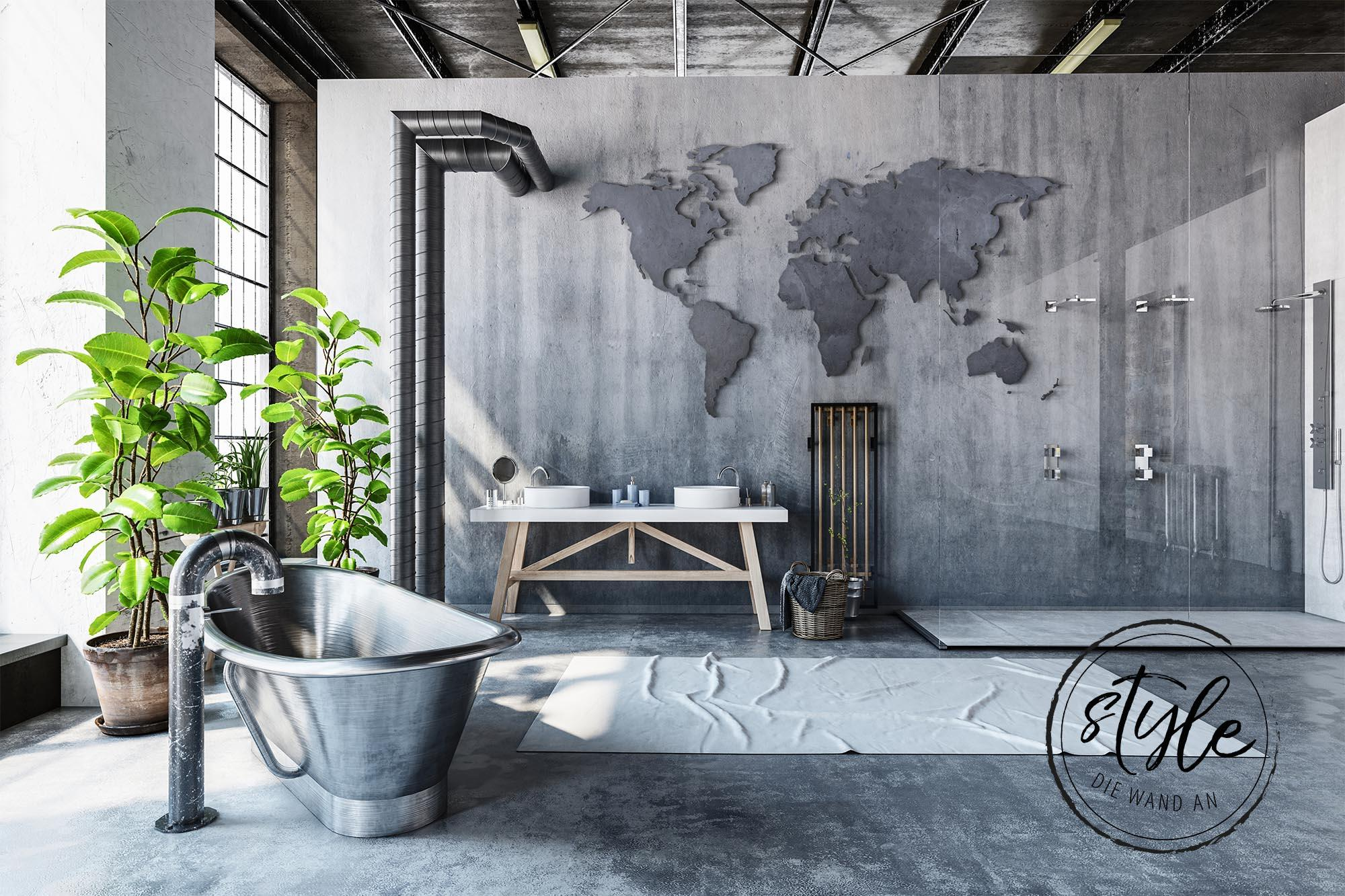 home decor world map wall pictures bathroom in concrete optics gumiabroncs Image collections