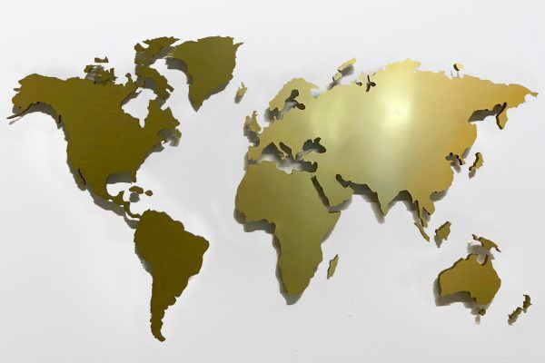 wall pictures world map brass