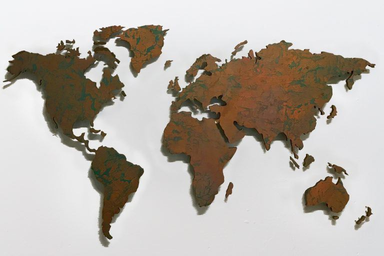 wall pictures world map copper patina