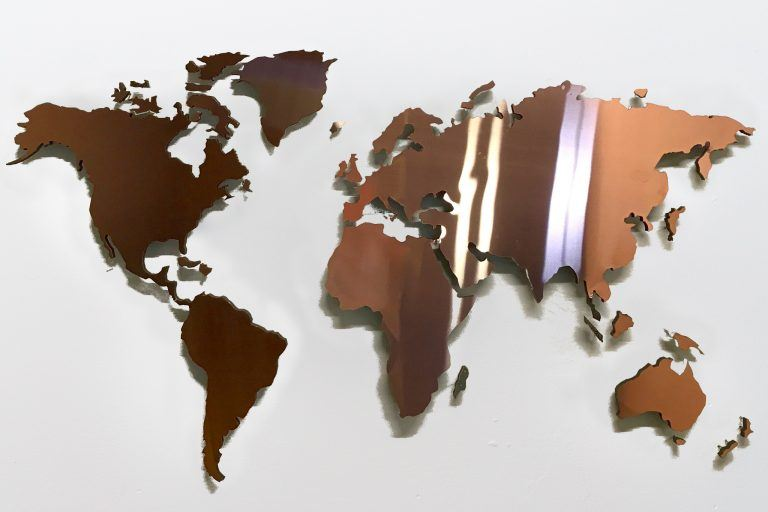 wall pictures world map copper