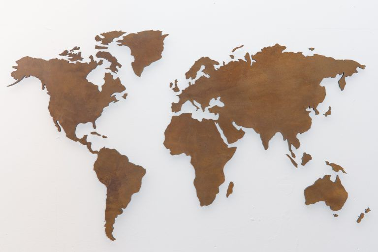wall pictures world map rust