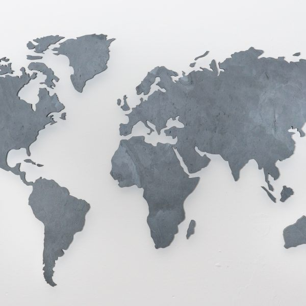 wall pictures world map slate black